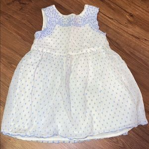 Baby gap cream and periwinkle dress